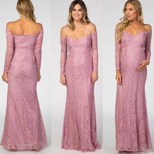 Pinkblush Mauve Lace Off Shoulder Maternity Dress